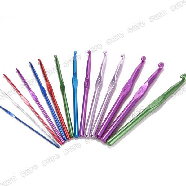 14 stk. Häkelnadel Stricknadeln Nadel Set Alu bunt Stärke 2,0mm - 10,0mm
