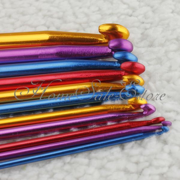 Alu Bambus Häkelnadel Set Nagelset Nadel Häkeln Stricknadeln Stärke 0.5-12mm
