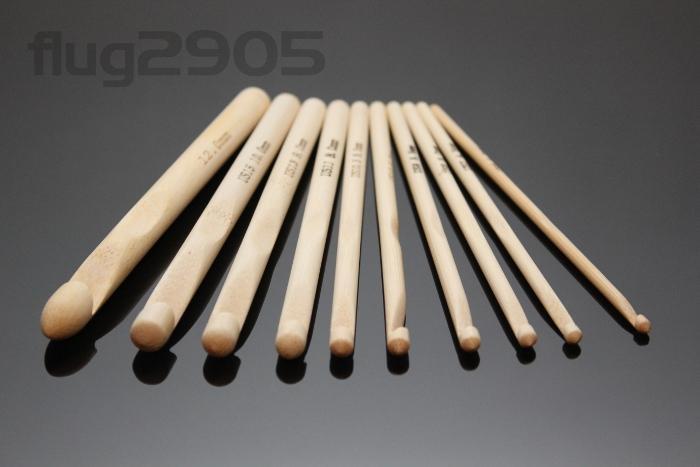 Häkelnadel Set 10 Stück Bambus Stärke 4 - 12mm Länge 15cm Häkelnadeln Set