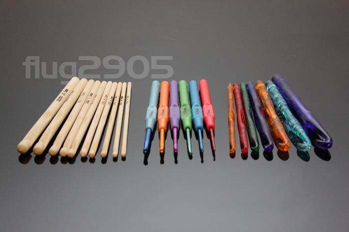 Häkelnadel Set 23 Stück Bambus, Alu, Acryl Stärke 2,5mm - 12mm Häkelnadeln