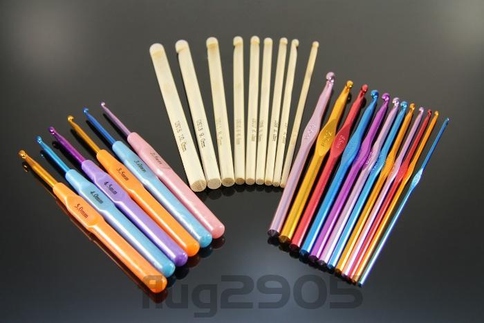 Häkelnadel Set 28 Stück Bambus, Alu mit Griff Stärke 2mm - 12mm Häkelnadeln