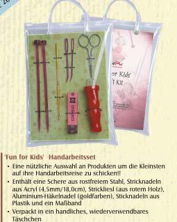 Kinder Set Knitpro Strickliesel Schere Häkelnadel Stricknadel Maßba