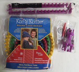 Knitting Knifty Knitter Straight Long ROUND LOOM Hook Set of 4 Boye Jumbo Spool