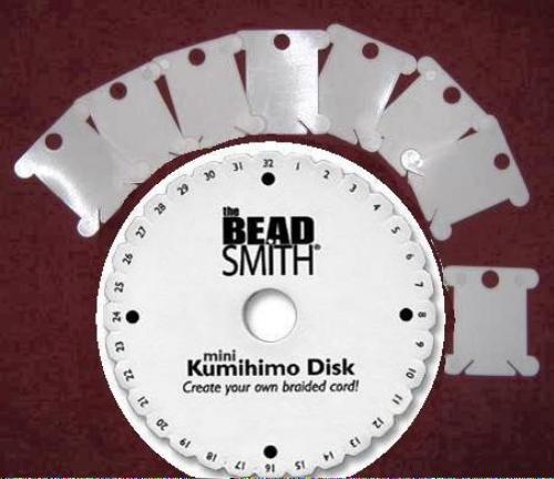 Kumihimo Braiding Disk 1 set with 8 Flat Bobbins and Instructions PBT