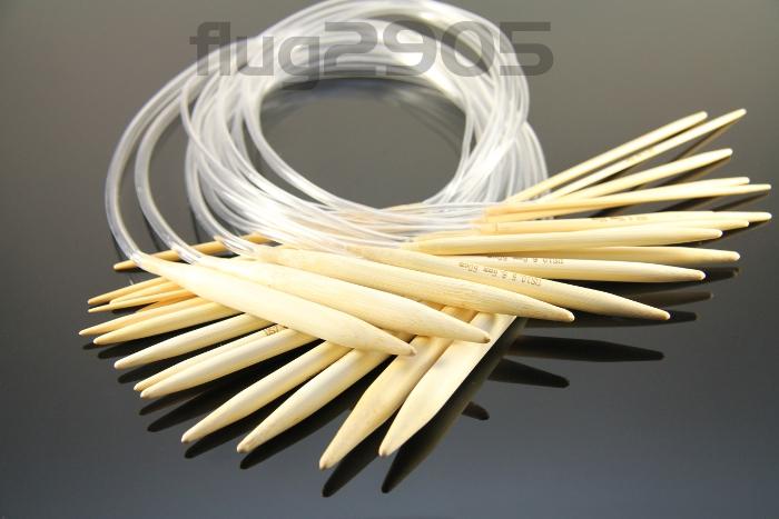 Rundstricknadel Bambus Set 15 Stück Stärke 2 - 10mm 40cm Länge