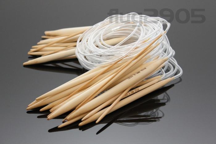 Rundstricknadel Bambus Set 15 Stück Stärke 2 - 10mm 80cm Länge