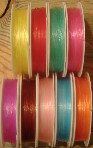 Stretch Bead Cord Assorted Colors Elastic 10 Meters 0.8mm 11 Spools PBT