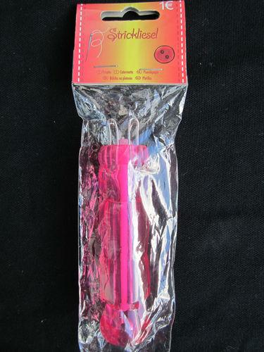 Strickliesel mit 4 Haken, rosa mit weisser Nadel