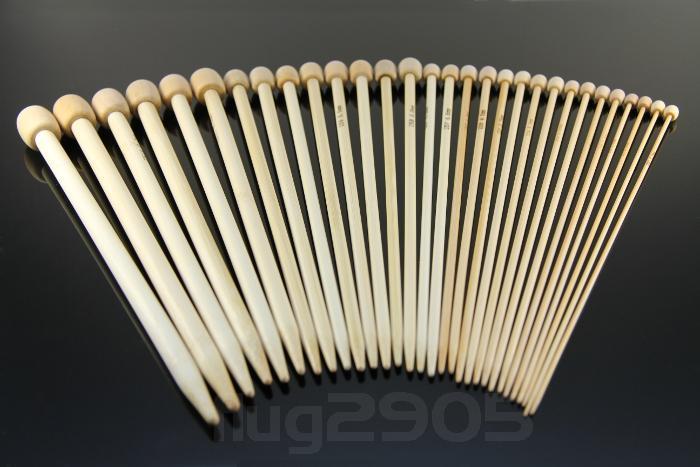 Stricknadel Set 15 Paar Bambus Stärke 2,0 - 10,0mm Länge 23cm Jackennadel