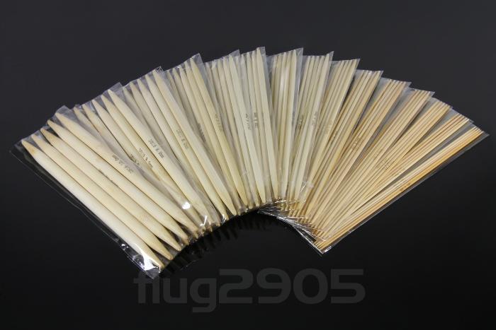 Stricknadel Set 15 x 5 Stück 20cm Bambus Stärke 2mm - 10mm Socken Nadelspiel