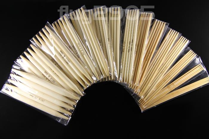 Stricknadel Set 15 x 5 Stück Bambus Stärke 2 - 10mm Länge 13cm Socken Nadelspiel