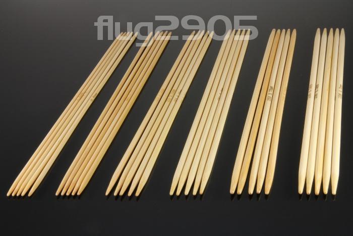 Stricknadel Set 6 x 5 Stück Bambus Stärke 2,0mm - 4,0mm Nadelspiel Set