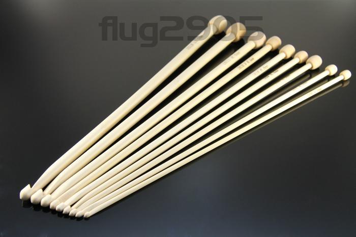 Tunesische Häkelnadel Set 9 Stück Bambus 4 - 10mm Länge 30cm Afghanische