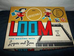 WEAVING blue metal LOOM Davis Toy Co potholders Box Instructions